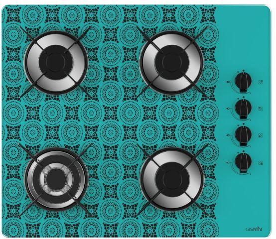 Medidas de Cooktop Casavitra 4 queimadores triplo - croche azul turquesa