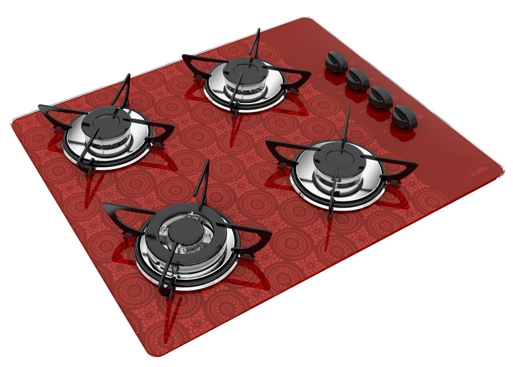 Medidas de Cooktop Casavitra 4 queimadores triplo - croche bordô