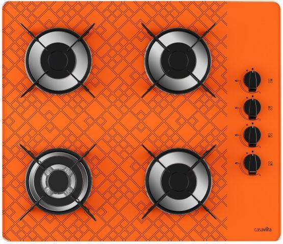 Medidas de Cooktop Casavitra 4 queimadores triplo - tetris laranja