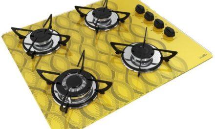 Medidas de Cooktop Wavy Amarelo a Gás 4B Tripla Chama Casavitra