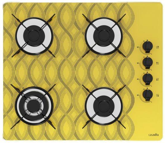 Medidas de Cooktop Casavitra 4 queimadores triplo - wavy amarelo