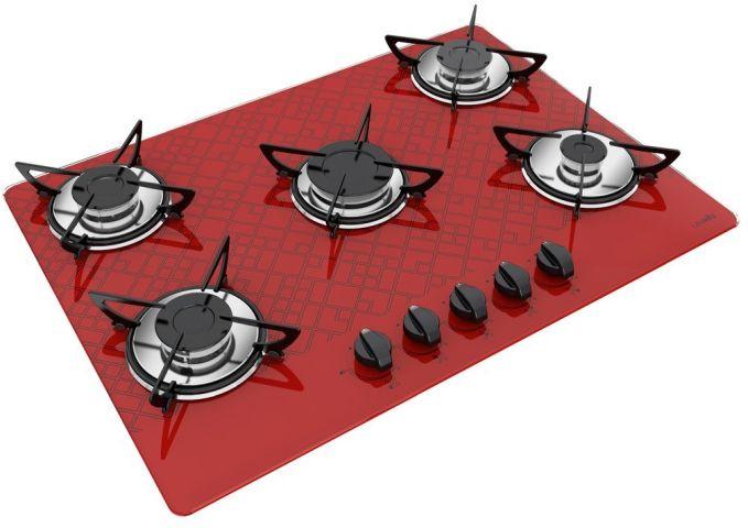 Medidas de Cooktop Casavitra 5 queimadores chama rápida tetris vermelho