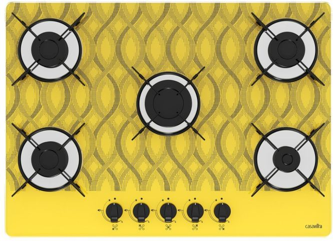 Medidas de Cooktop Casavitra 5 queimadores chama rápida wavy amarelo