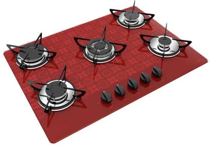 Medidas de Cooktop Casavitra 5 queimadores tripla chama crochê bordô