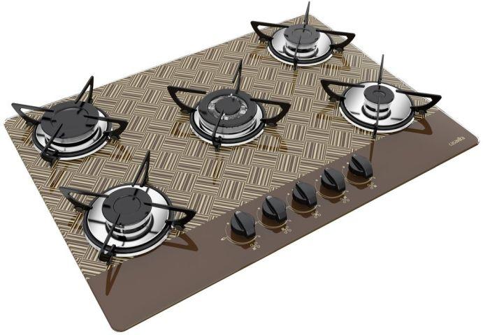 Medidas de Cooktop Casavitra 5 queimadores tripla chama new vitra chocolate