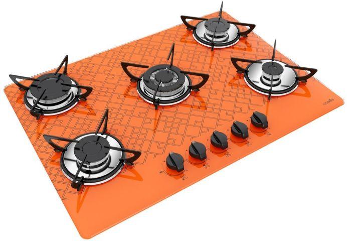 Medidas de Cooktop Casavitra 5 queimadores tripla chama tetris laranja