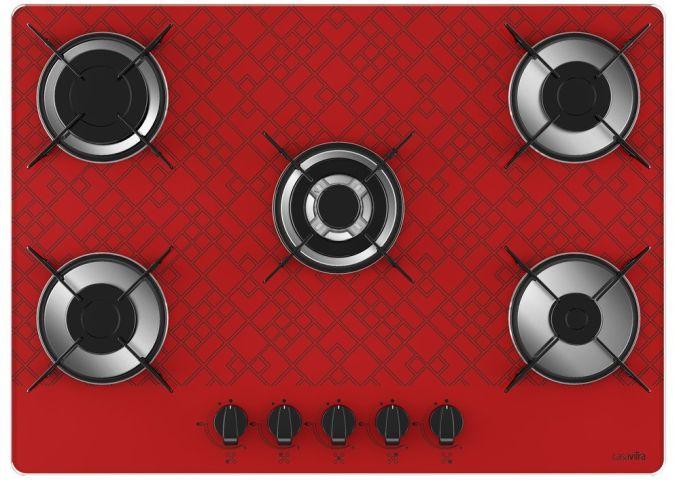 Medidas de Cooktop Casavitra 5 queimadores tripla chama tetris vermelho