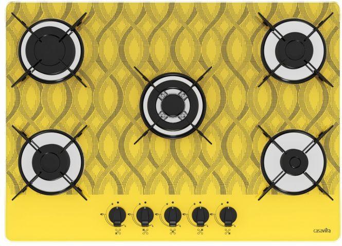 Medidas de Cooktop Casavitra 5 queimadores tripla chama wavy amarelo
