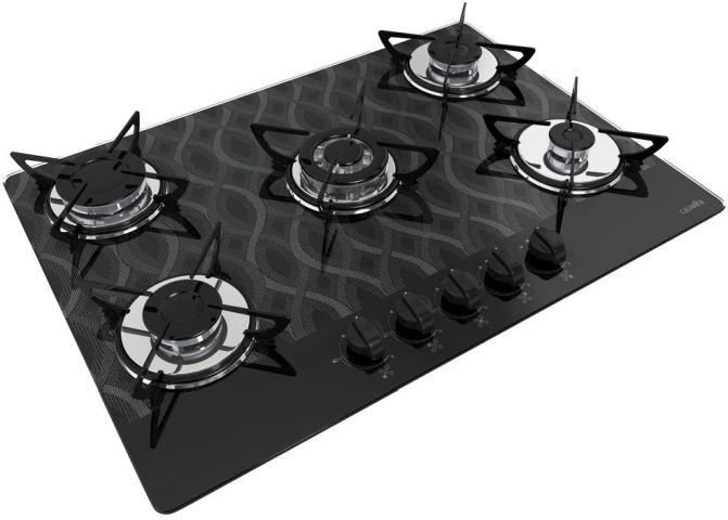Medidas de Cooktop Casavitra 5 queimadores tripla chama wavy preto