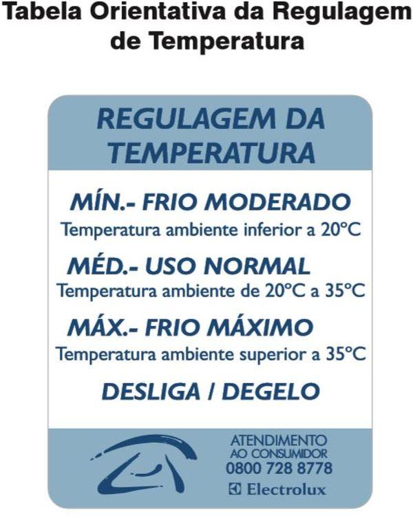 Ajustar temperatura da Geladeira Electrolux - tabela ajuste de temperatura