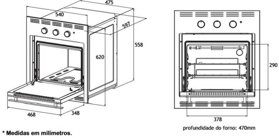 Medidas do forno a gás de embutir Venax 50L - Dimensões detalhadas
