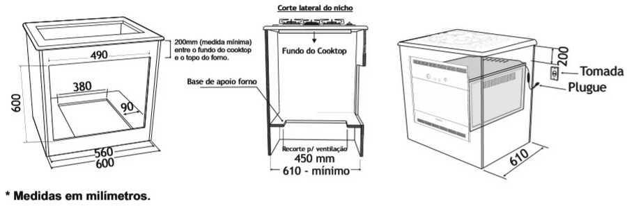 Instalação do forno a gás de embutir Venax 50 litros  - bancada