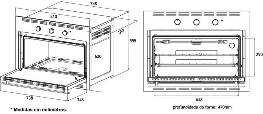 Medidas do forno a gás de embutir Venax 90L - Dimensões detalhadas
