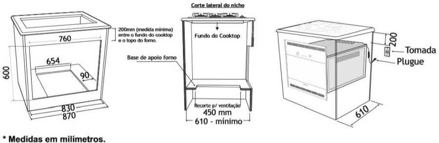 Instalação do forno a gás de embutir Venax 90 litros  - bancada
