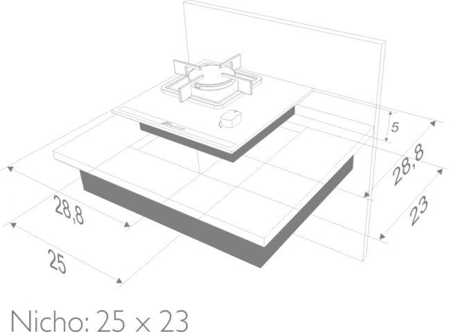 Instalação do cooktop Built Delta 1 queimadores - nicho