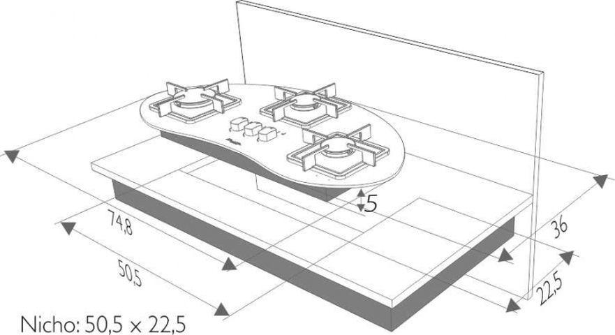 Instalação do cooktop Built Delta 3 queimadores - nicho