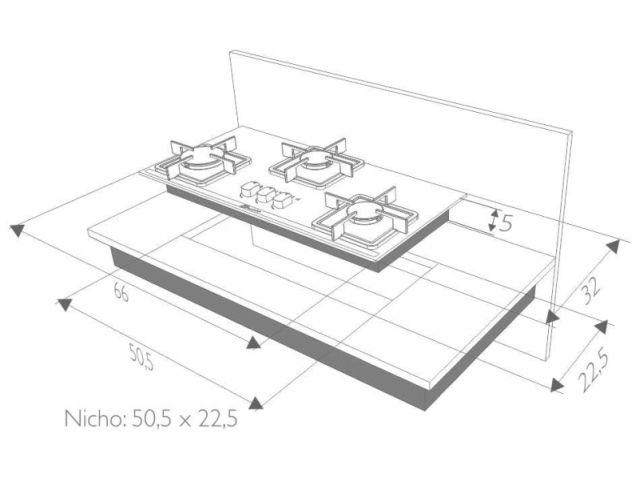 Instalação do cooktop Built 3 queimadores slim preto - nicho