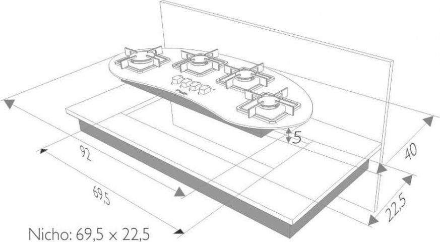 Instalação do cooktop Built Delta 4 queimadores - nicho