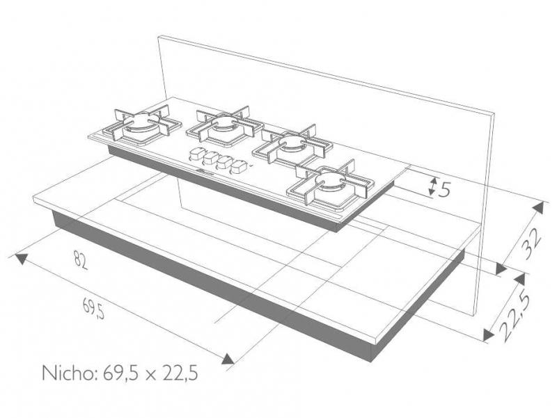 Instalação do cooktop Built 4 queimadores slim preto - nicho
