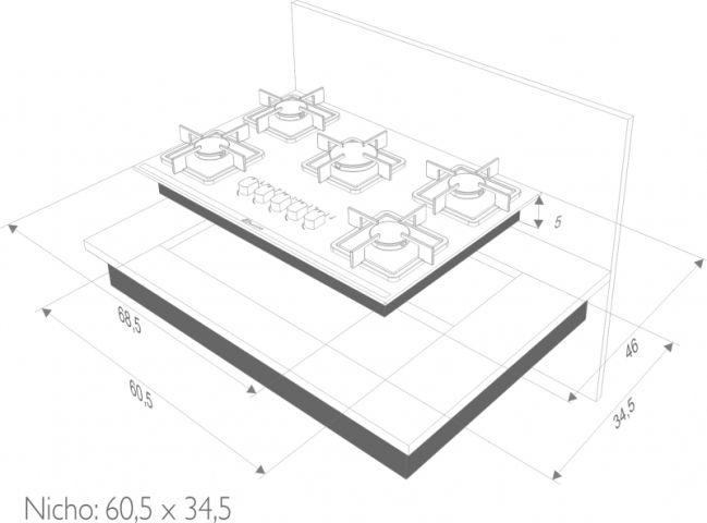 Instalação do cooktop Built 5 queimadores preto - nicho