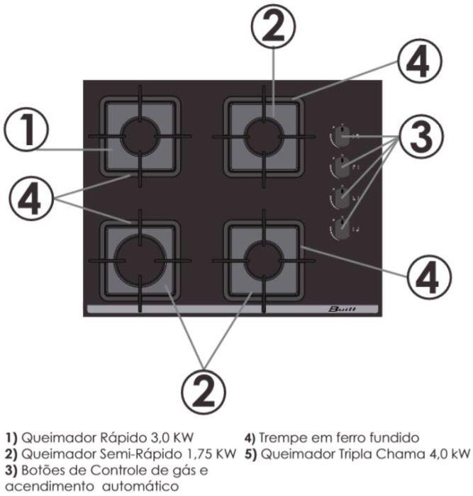 Conhecendo cooktop Built 4 queimadores Vidro Branco
