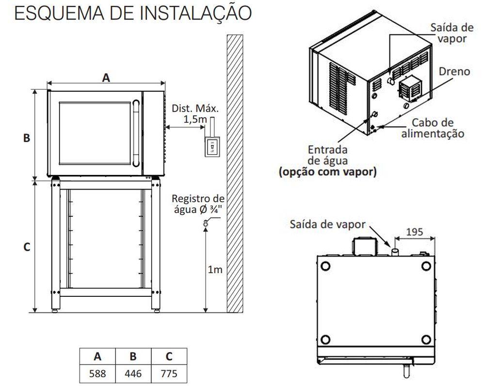 Instalação do forno elétrico convecção da Prática modelo Classic Black ou Inox