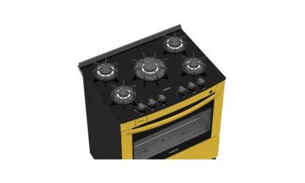Medidas do Fogão de Piso a Gás Venax Delplus Vitreo 5Q Amarelo