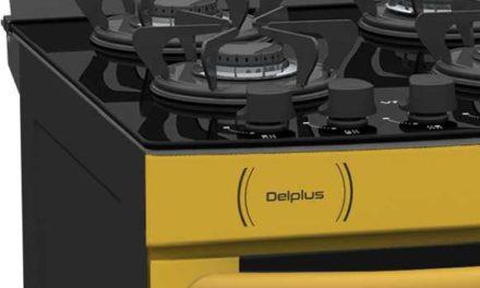 Medidas do Fogão de Piso a Gás Venax Delplus Vitreo 4Q Amarelo
