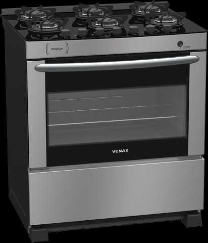 Medidas do fogão de piso 6 queimadores Venax - Delplus Vitreo Inox