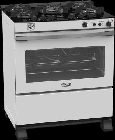 Medidas do fogão de piso a gás 5 queimadores Venas - Gaudí Vetrô Vítreo branco