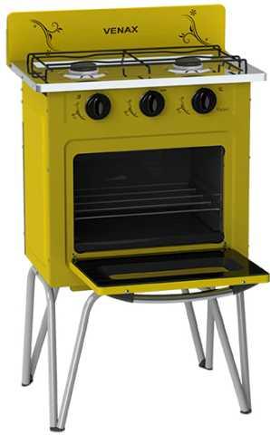 Medidas do fogão portátil Venax Gemini Vetrô amarelo