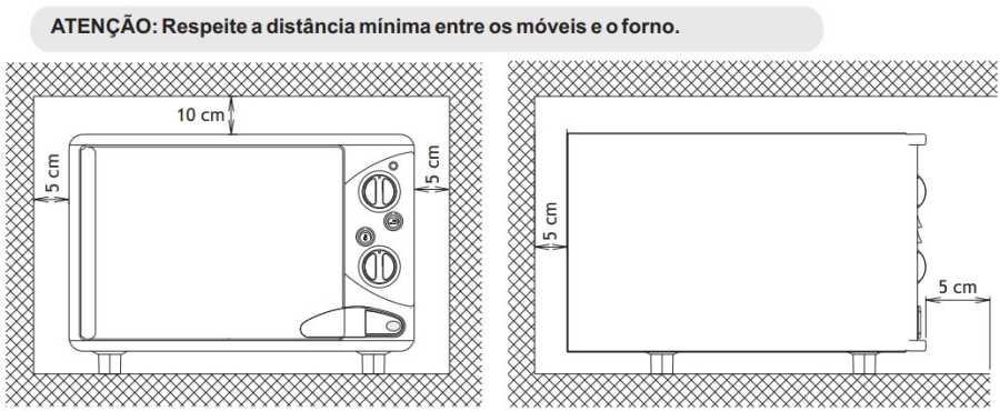 Medidas do forno elétrico Venax - distãncias ao redor do produto