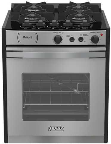 Medidas do fogão de embutir Venax 4 queimadores - Gaudi Platinum Vitreo Inox