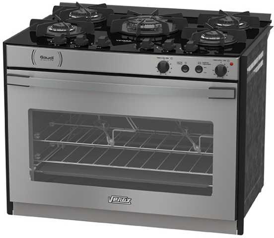 Medidas do fogão de embutir Venax 5 queimadores - Gaudi Platinum Vitreo Inox