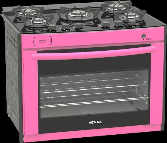 Medidas do fogão de embutir Venax 5 queimadores - Gaudi Prisma Vitreo Pink