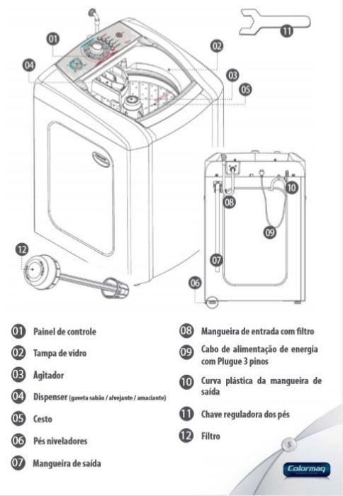Maquina de lavar roupas automática Colormaq 15Kg