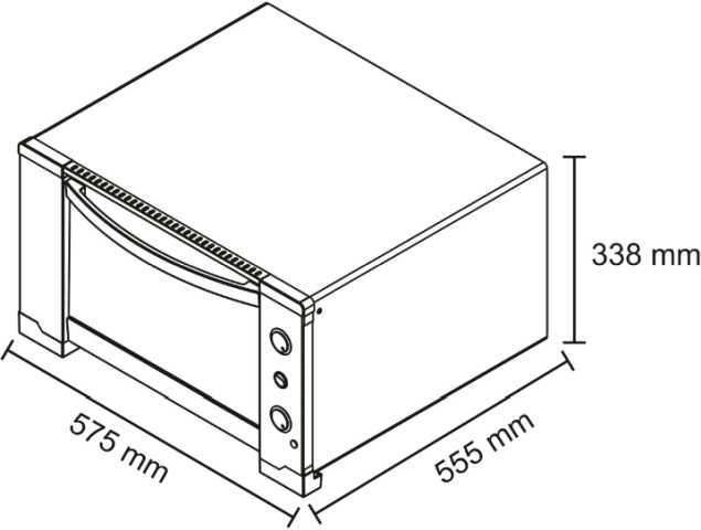 Medidas do forno elétrico Nardelli NDL45i - dimensões detalhadas