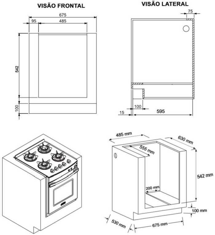 Instalação fogão de embutir Venax - 4 bocas - nicho de instalação