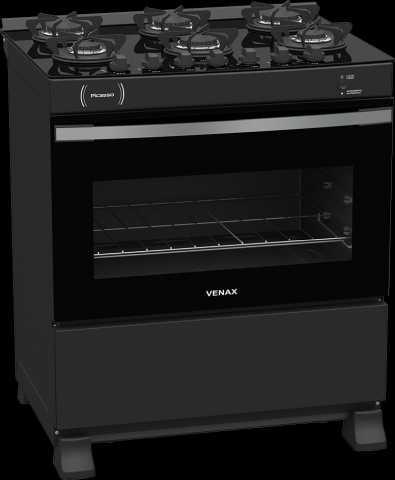 Medidas do fogão de piso 6 queimadores Venax -Picasso Vitreo Preto