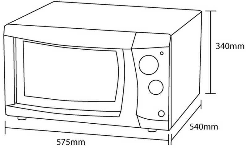 Medidas do forno elétrico Nardelli Slim 45 - dimensões detalhadas