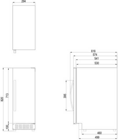 Medidas da adega climatizada Dometic S16FG - dimensões