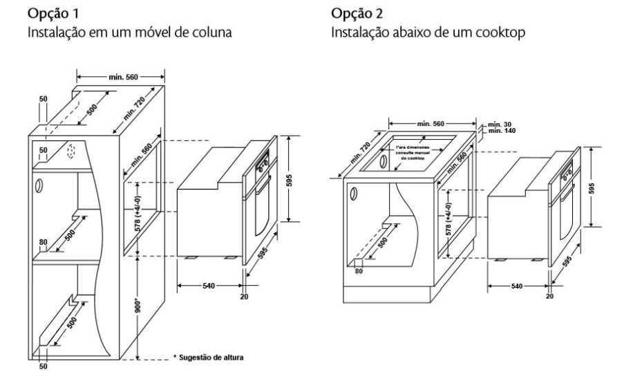Forno elétrico Consul - instalação - medidas do nichos de instalação - co060
