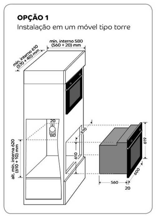 Forno a gás Consul - instalação - medidas do nichos de instalação - coa84