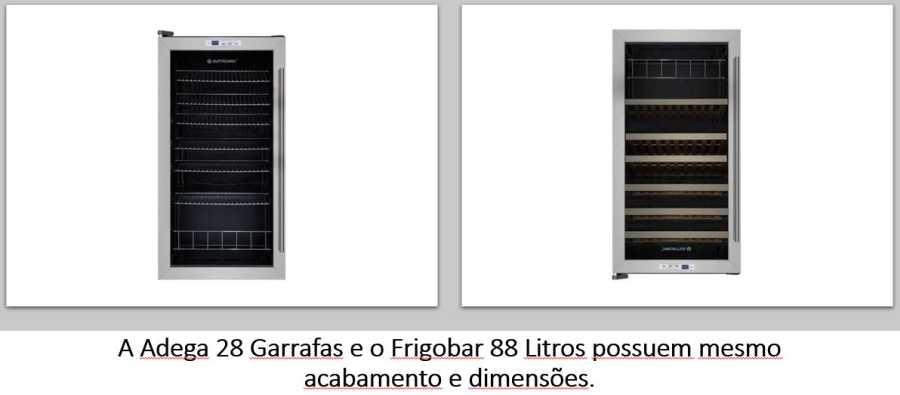 Adega 28 garrafas e Frigobar 88 lts Elettromec