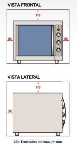 Instalação do forno elétrico Layr - distâncias ao redor do produto