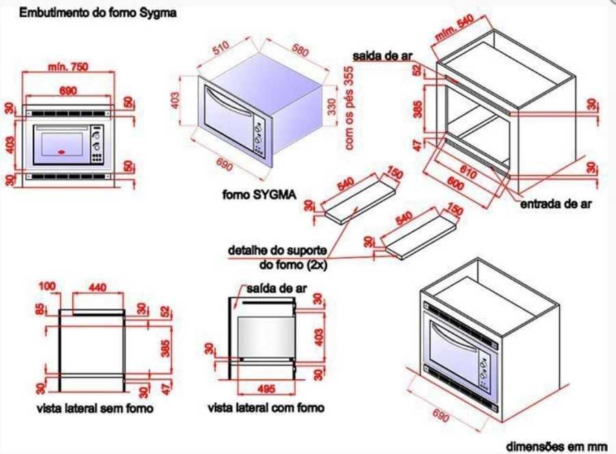 Instalação do forno elétrico Layr - dimensões do nicho