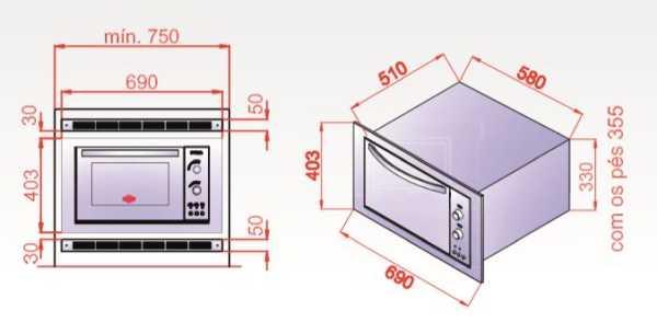 Forno elétrico layr Lyder de embutir Sigma Inox - Dimensões detalhadas