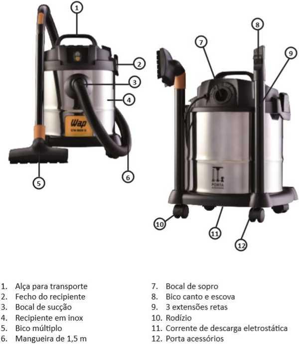Aspirador de pó e água WAP - GTW INOX 12 - conhecendo o produto