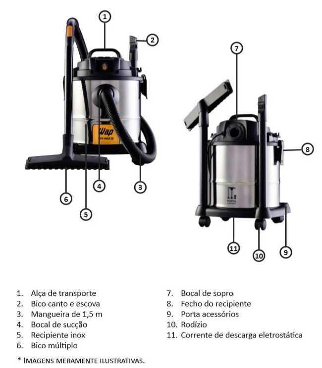 Aspirador de pó e água WAP - GTW INOX 20 - conhecendo o produto