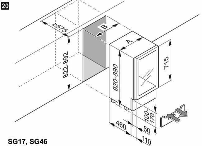 Medidas da Adega Climatizada Dometic S46G - Instalação